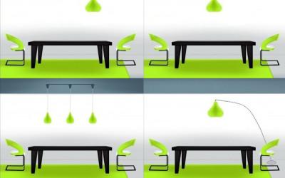Punto luce decentrato sul tavolo: spesso ne nasce una bella soluzione