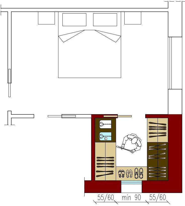 Dimensioni della cabina armadio architettura a domicilio - Camera da letto con cabina armadio e bagno ...