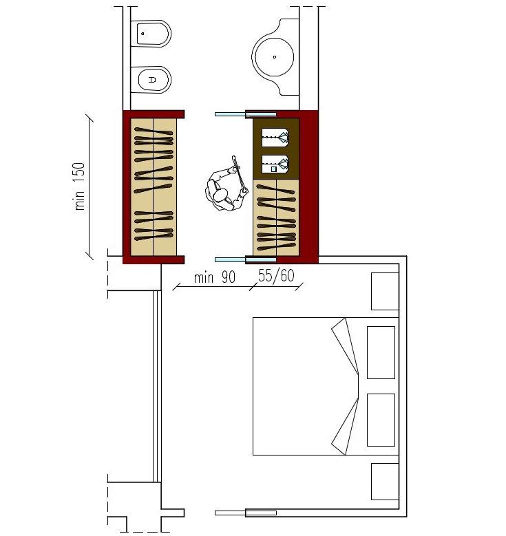 dimensioni della cabina armadio-architettura a domicilio® - Misure Necessarie Per Cabina Armadio