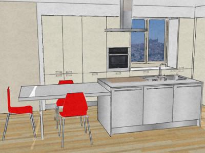 Cucina con isola e tavolo accostato-Architettura a domicilio®