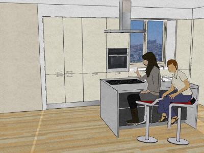 Cucina con isola e tavolo accostato architettura a domicilio for Cucina con isola cottura