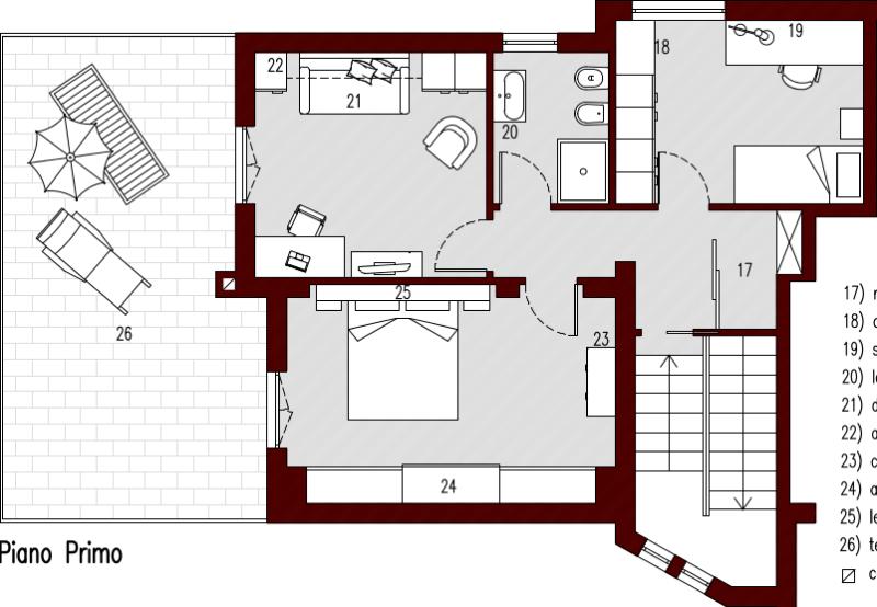140mq planimetria arredata primo architettura a domicilio for Planimetrie della cabina di log gratuito