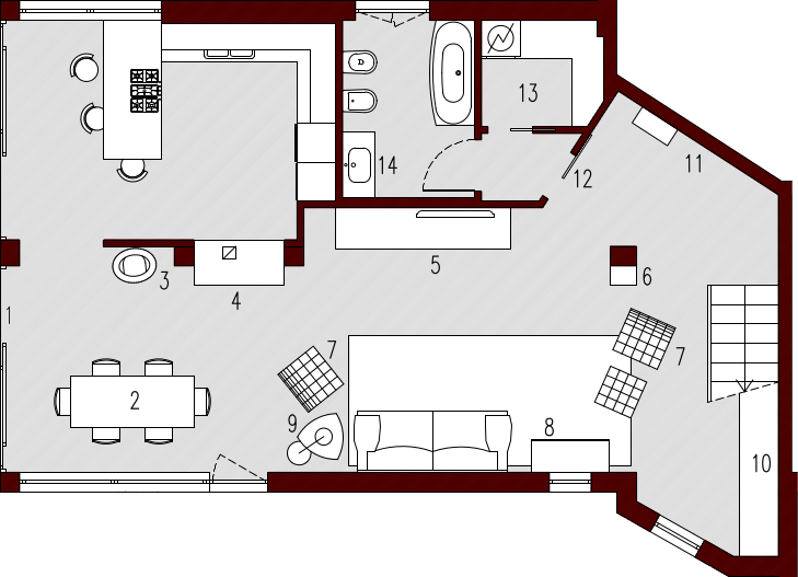 Progetto 140 mq architettura a domicilio for Come progettare una pianta del piano interrato