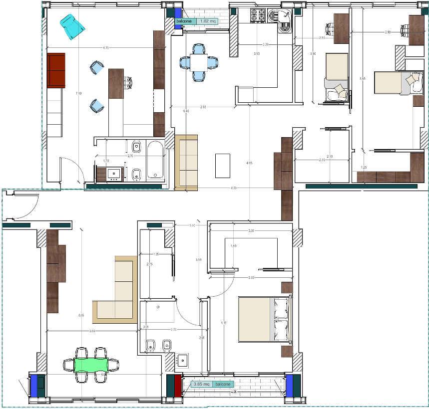 Progetto 200 mq architettura a domicilio for Quanto costa una casa con 4 camere da letto