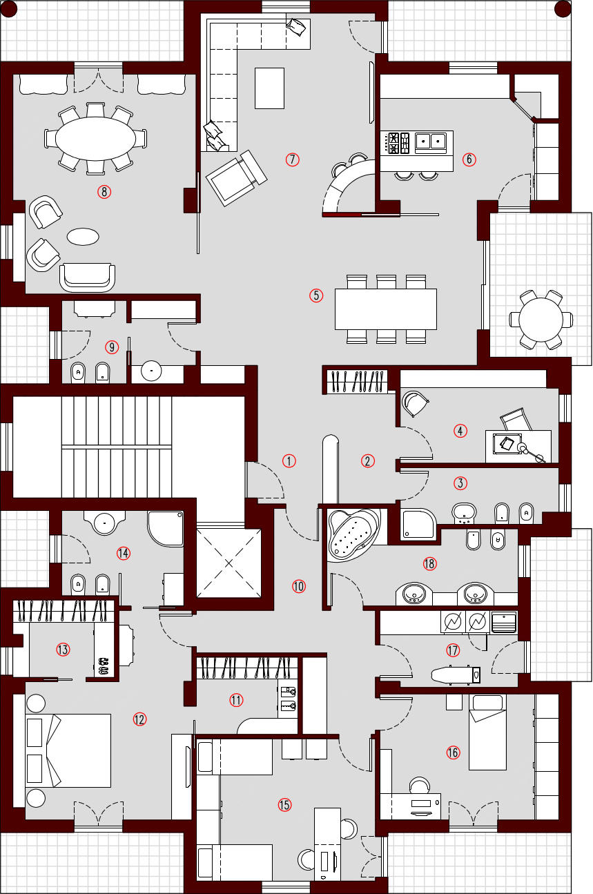 250mq planimetria arredata architettura a domicilio