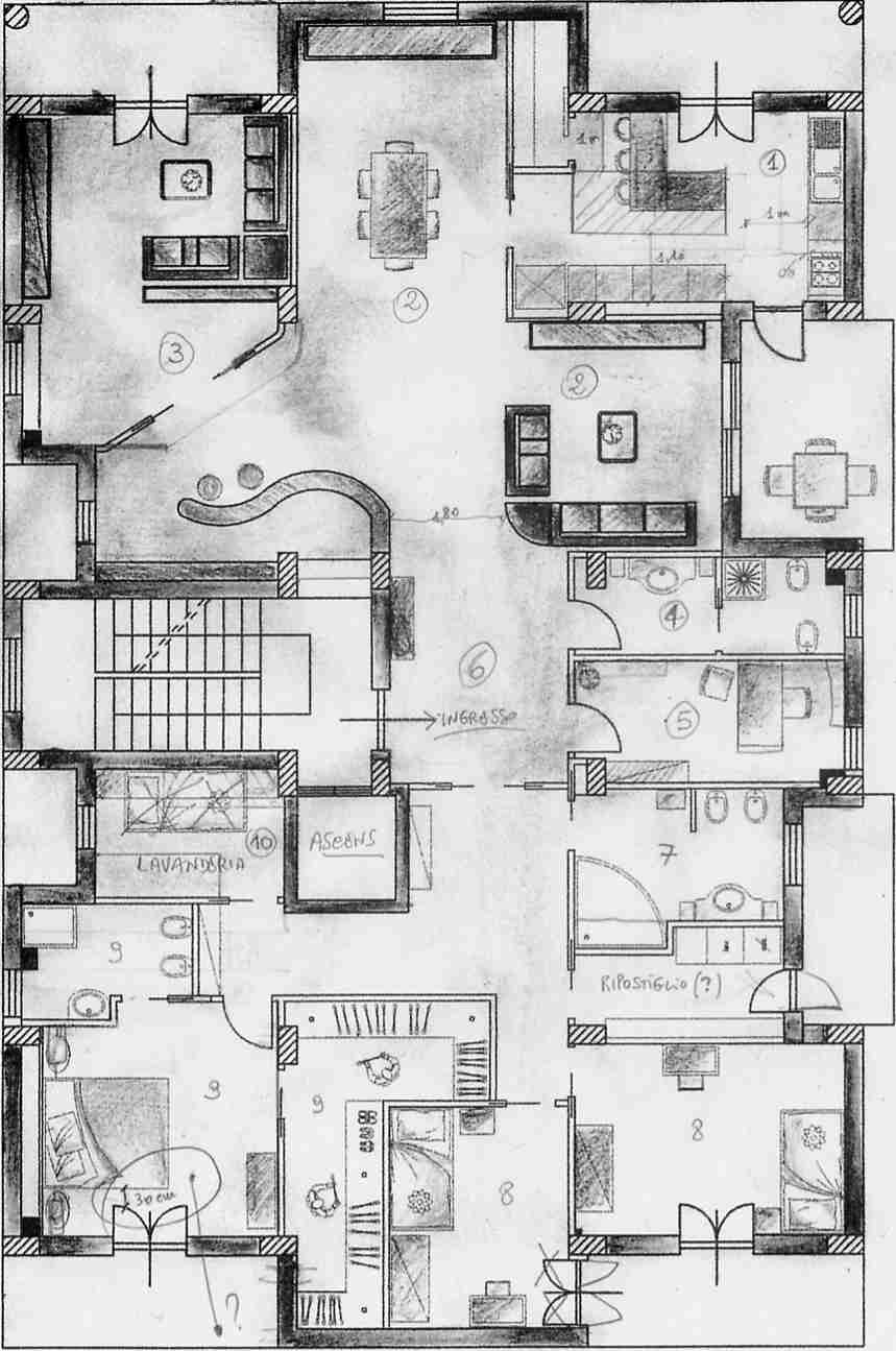 Progetto 250 mq architettura a domicilio for Grandi planimetrie