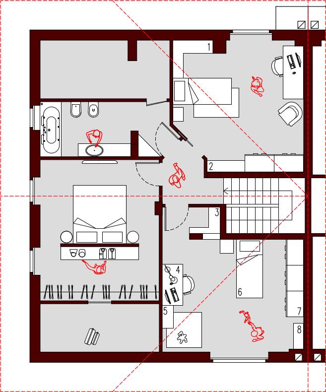 Progetto 300 mq architettura a domicilio for Planimetrie con stanze segrete