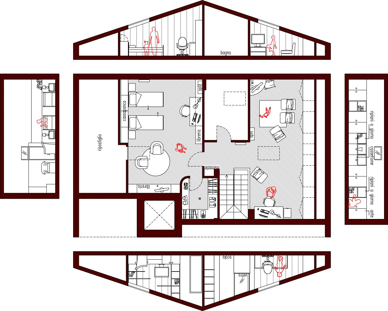 Progetto 80 mq architettura a domicilio - Planimetria casa 60 mq ...