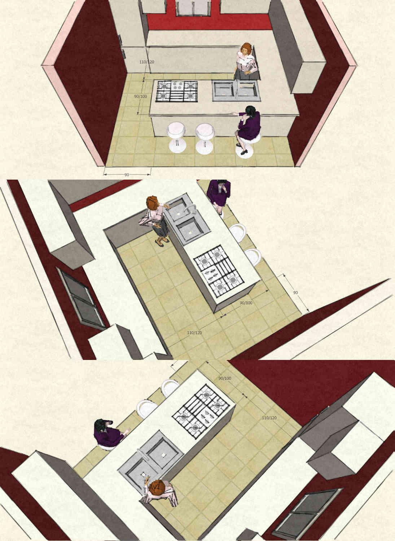 Cucina con isola o penisola immagini 3d con dimensioni - Bancone per cucina ...