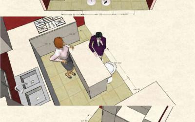 Cucina con isola o penisola: immagini 3D con dimensioni