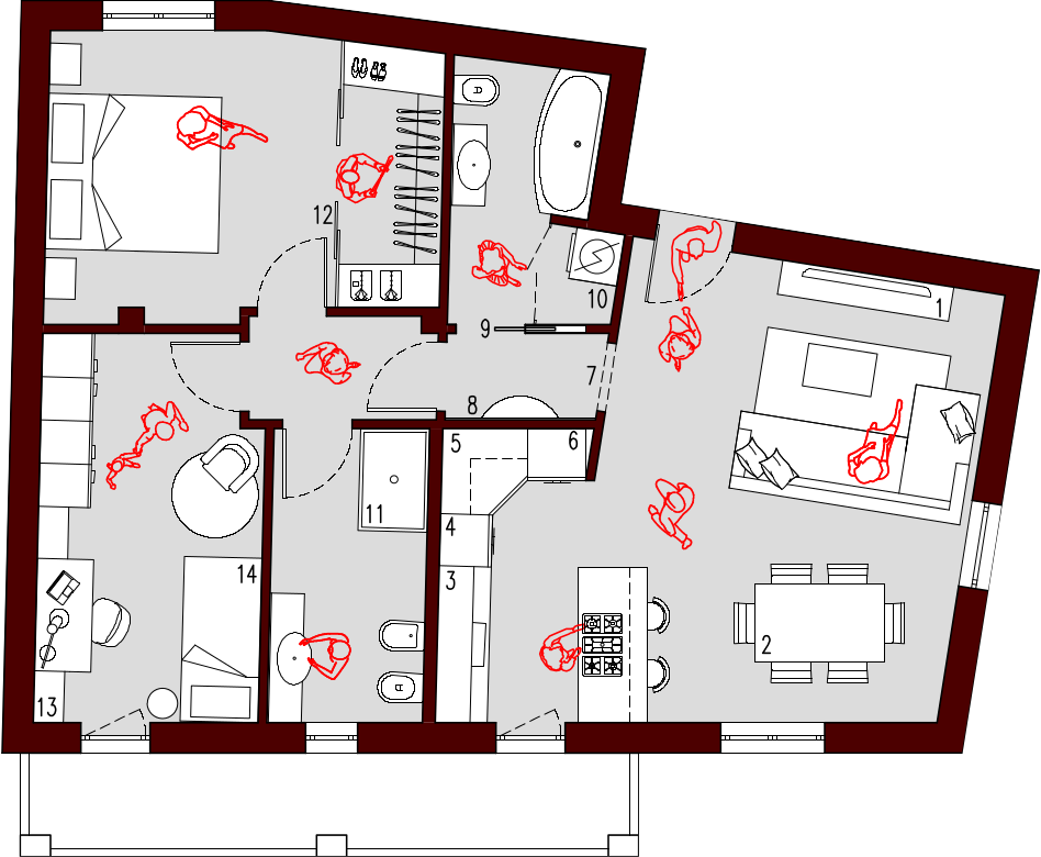 Progetto 75 mq architettura a domicilio for Planimetria appartamento