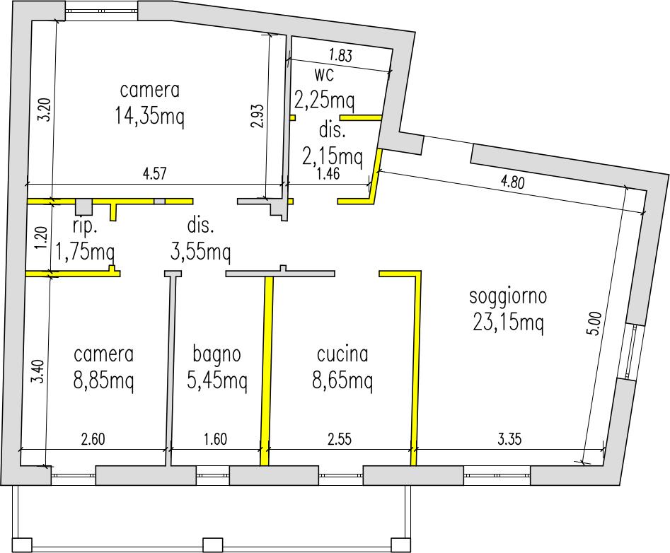 Progetto 75 mq architettura a domicilio - Planimetria casa 60 mq ...