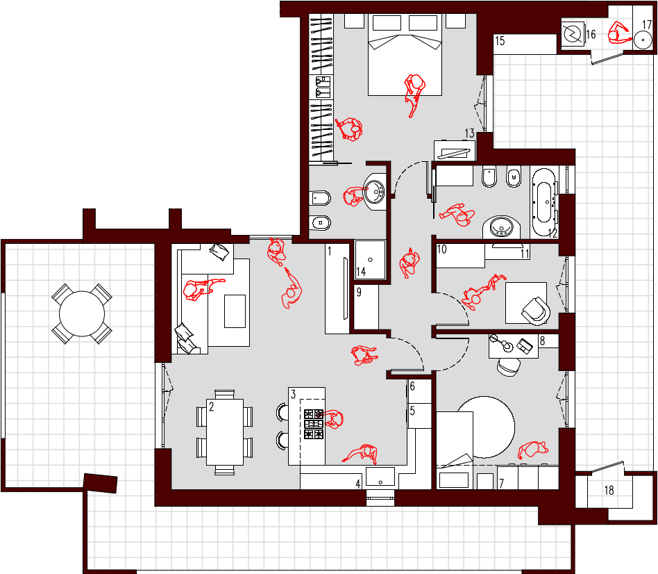 Progetto 85 mq architettura a domicilio for Planimetria stanza