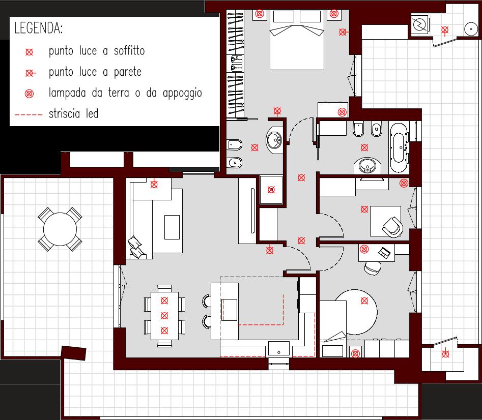 Progetto 85 mq architettura a domicilio - Punti luce in casa ...