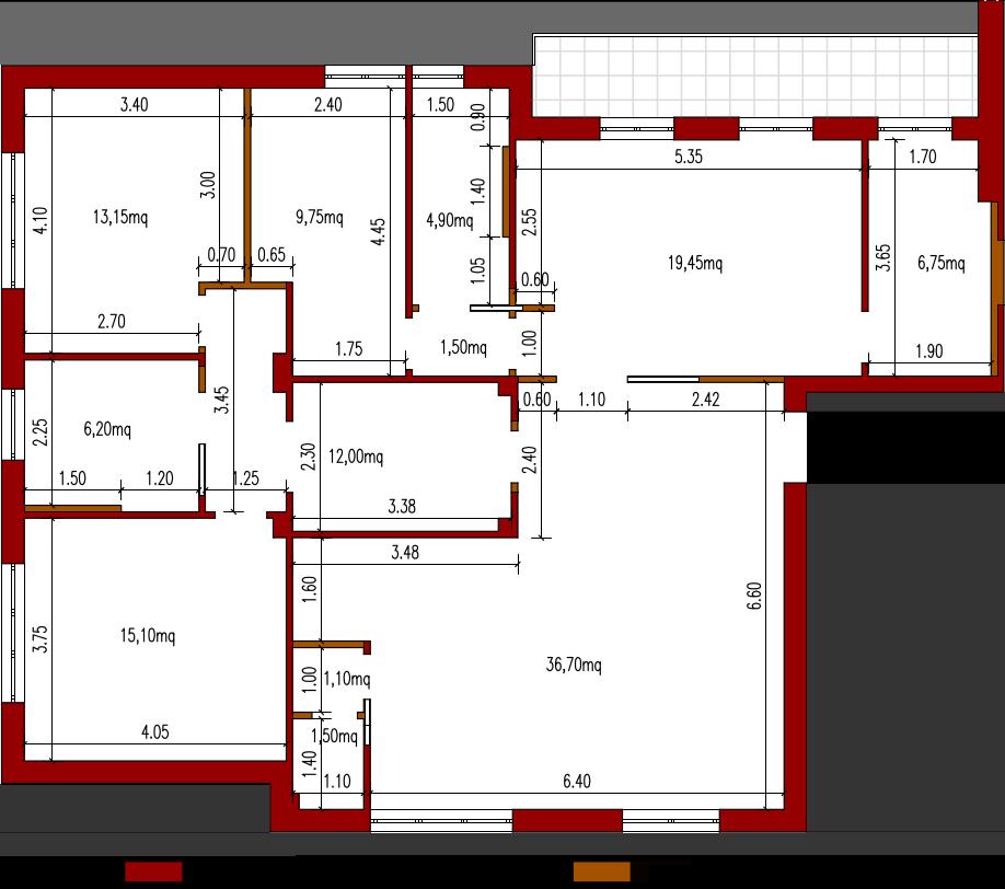 Progetto 135 mq architettura a domicilio for Creare piantina casa online
