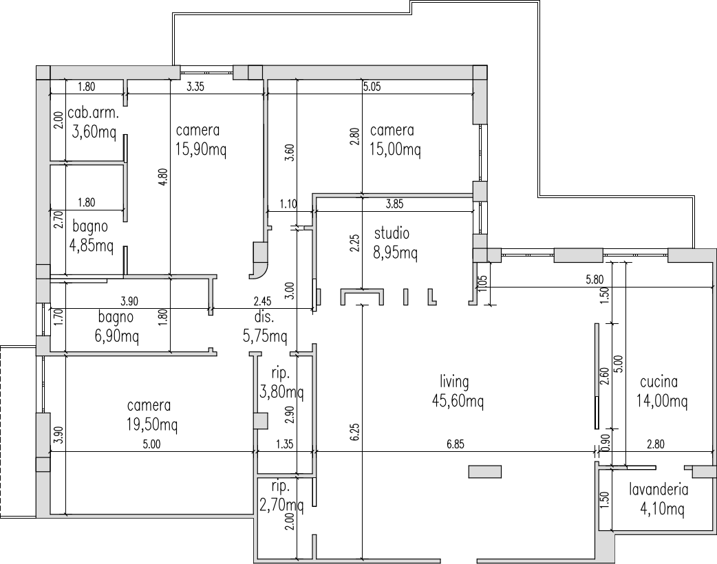 Progetto 150 mq architettura a domicilio for Piani di cabina 32x32