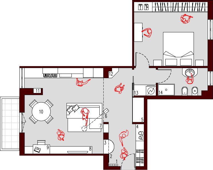 Progetto casa 85 mq decorazioni per la casa for Idee planimetria casa