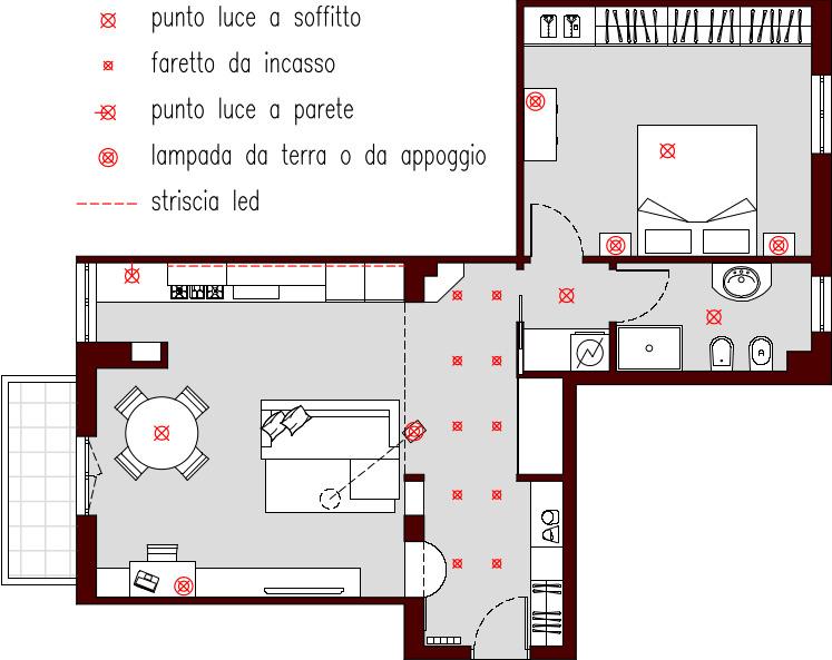 Progetto 65 mq architettura a domicilio - Colori dei fili impianto elettrico casa ...