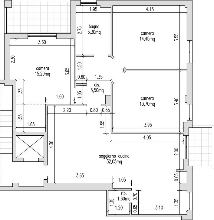 Progetto 90 mq architettura a domicilio for Grande planimetria della camera singola storia