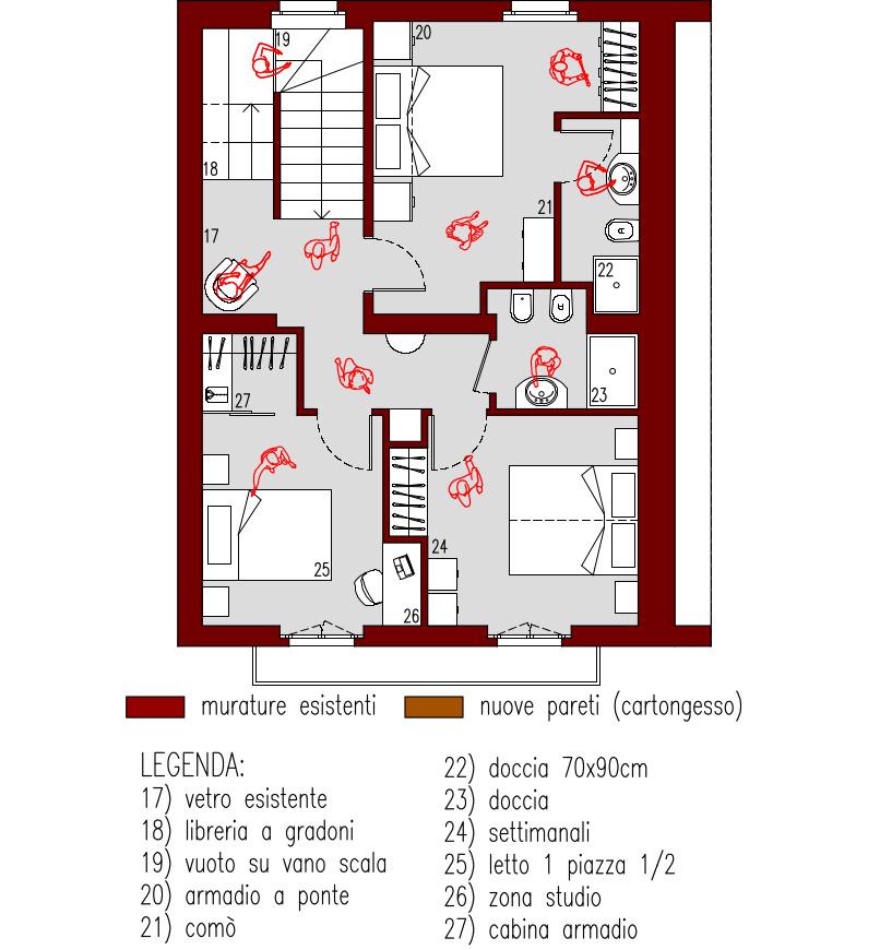 Progetto 170 mq for Piani principali del primo piano