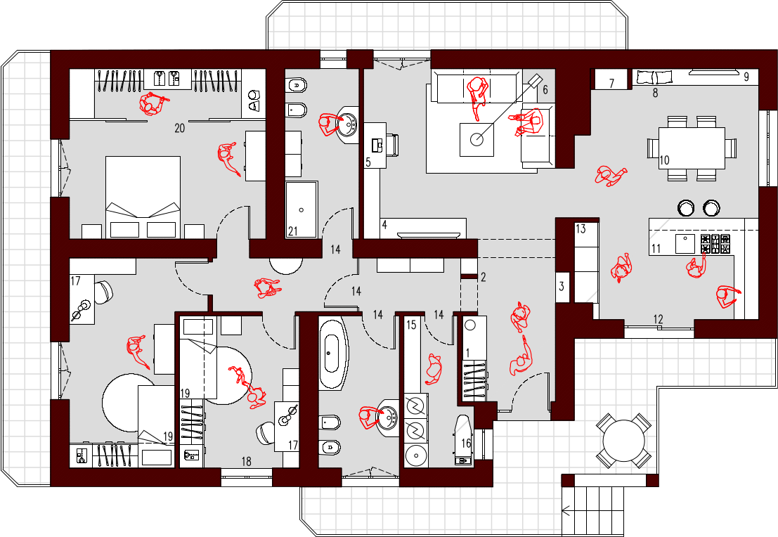 Progetto 130 mq architettura a domicilio for Planimetria appartamento