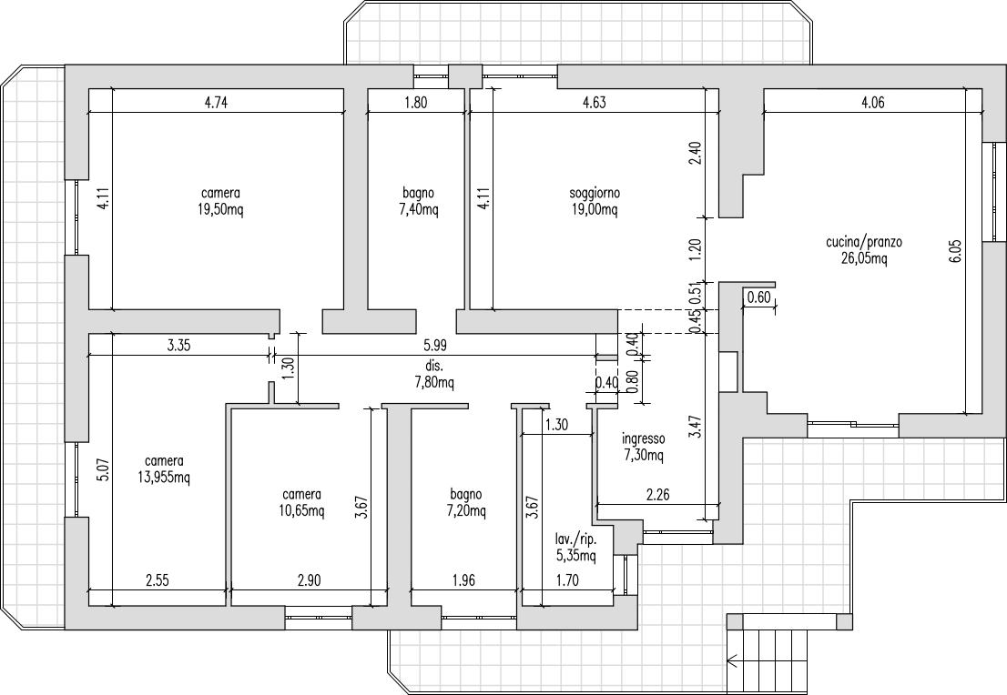 Planimetria Casa Con Misure progetto 130 mq-architettura a domicilio®