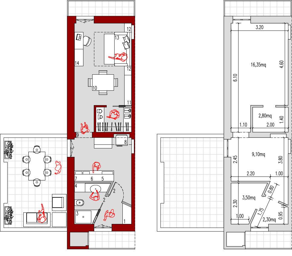 Progetto Appartamento 85 Mq progetto 35 mq-architettura a domicilio®