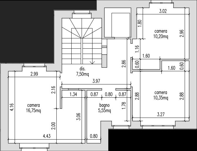 Progetto 55 mq architettura a domicilio for Planimetria di una casa