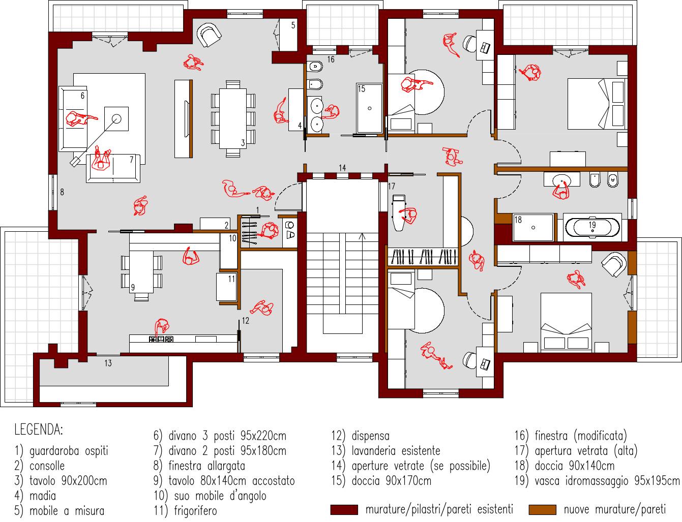 Progetto 190 mq architettura a domicilio - Progetto bagno 2 mq ...