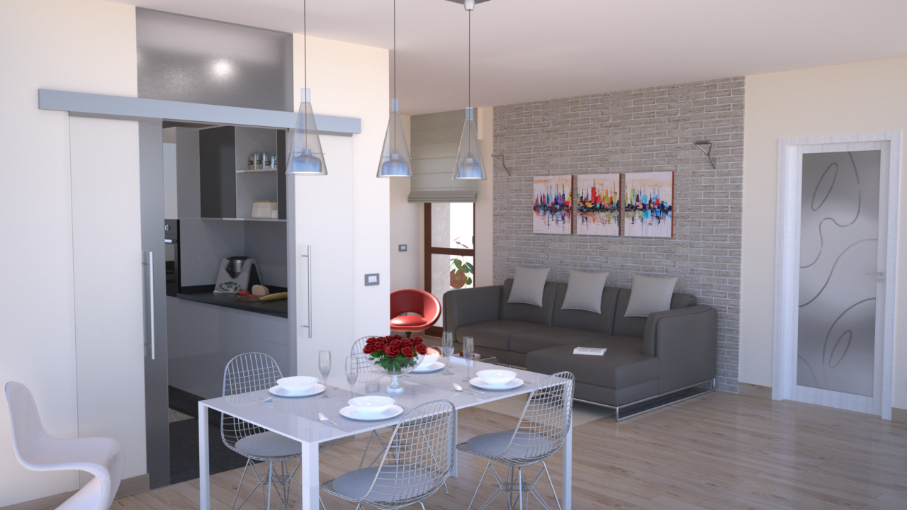 progetto online 40 mq-architettura a domicilio® - Soggiorno Cucina 40 Mq