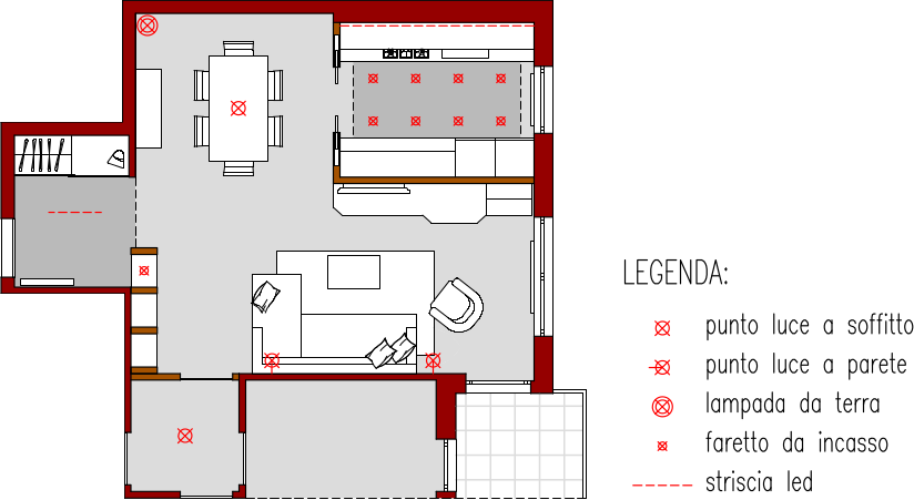 Progetto online 40 mq architettura a domicilio - Punti luce in cucina ...