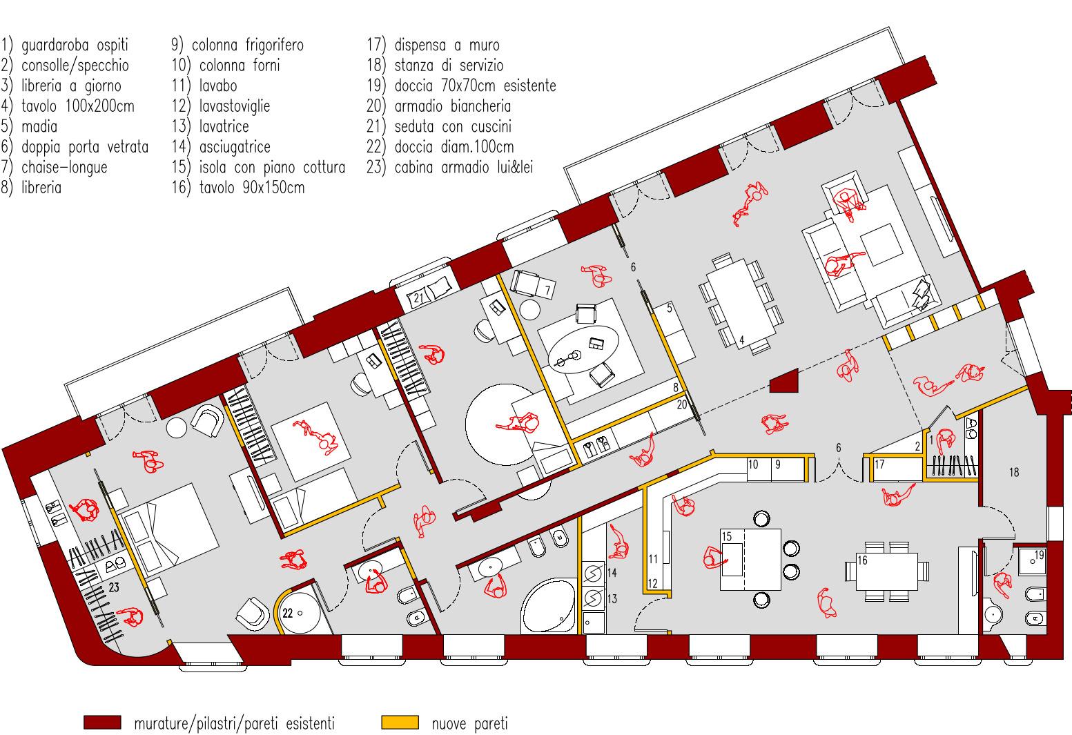 Progetto 210 mq architettura a domicilio for 3 camere da letto 3 piani del bagno