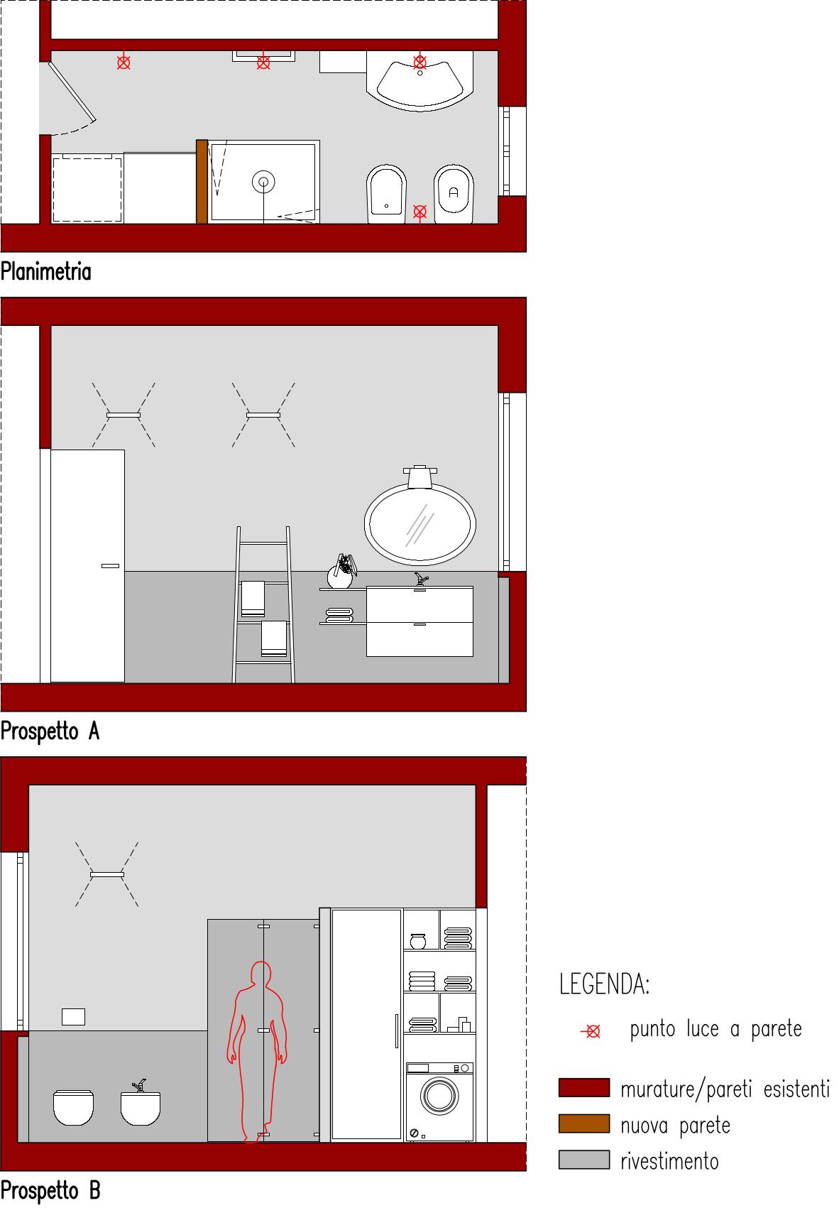 Progetto Bagno 3 Mq progetto 6 mq-architettura a domicilio®