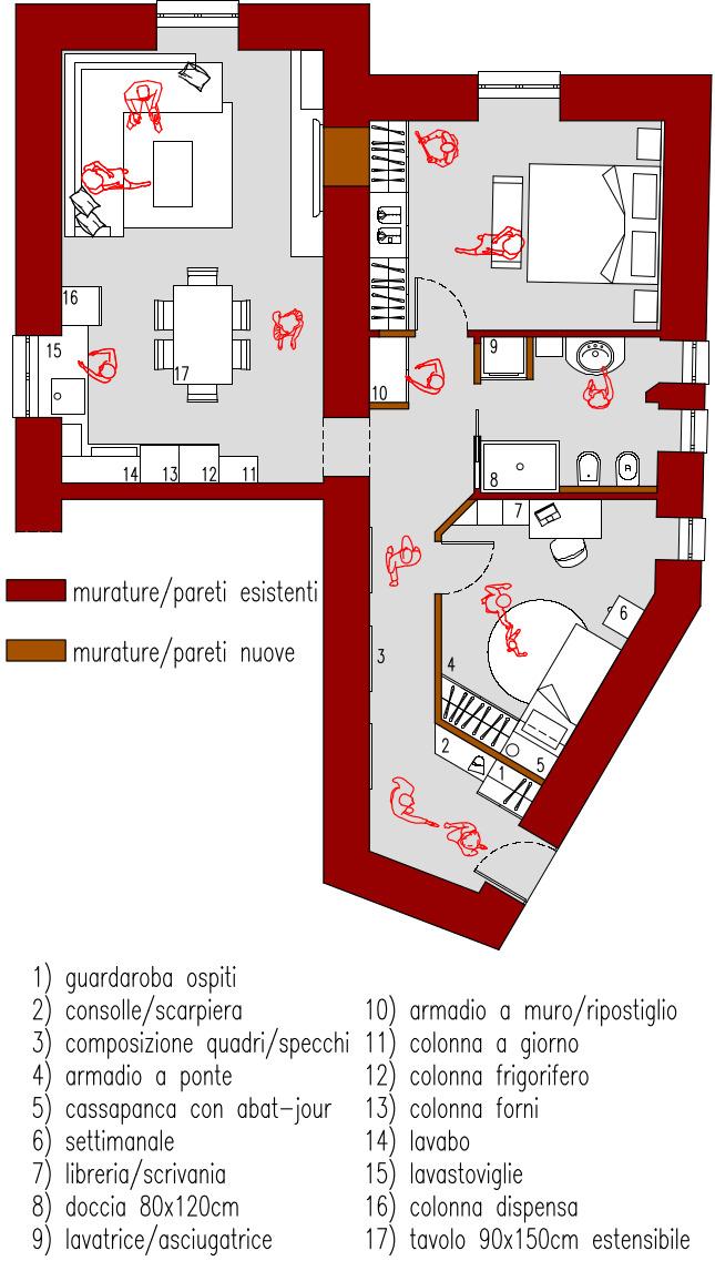 Progetto 70 mq architettura a domicilio for Planimetria appartamento
