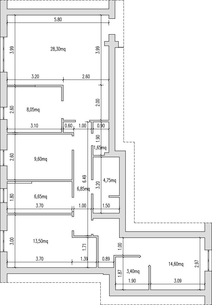 Progetto 100 mq architettura a domicilio for Planimetria camera da letto