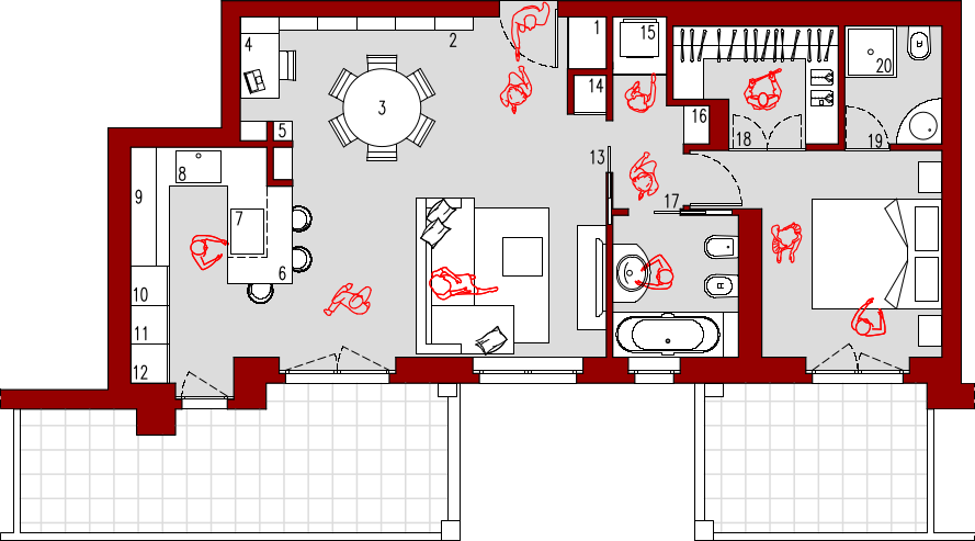 Progetto 60 mq architettura a domicilio - Planimetria camera da letto ...