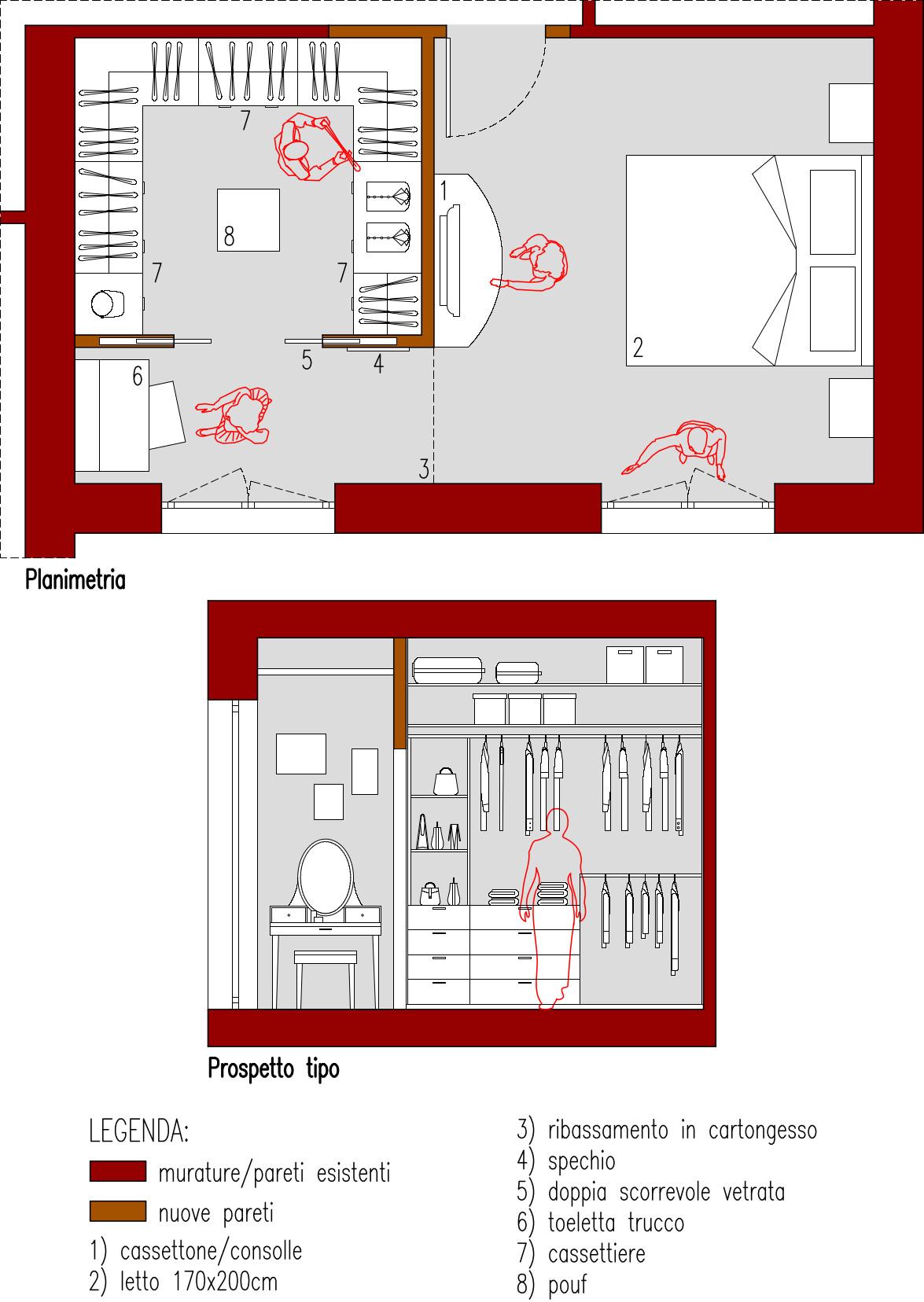 Progetto 25 mq-Cabina armadio a C su 3 lati-Architettura a domicilio®