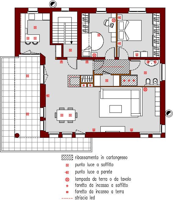 progetto-online-280-mq-cucina-penisola-planimetria-schema-punti-luce-casa-indipendente-piano-primo